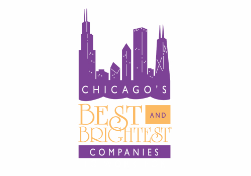 Digital Chicago Skyline on top of the Best and Brightest Companies to Work for Logo